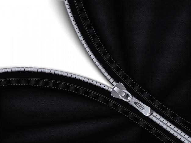 Halb geschlossener grauer reißverschluss, der an schwarzen stoff genäht ist