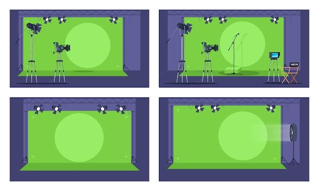 Halbbild-illustrationssatz des grünen bildschirms. futuristische sammlung von filmerstellungsbereichen.