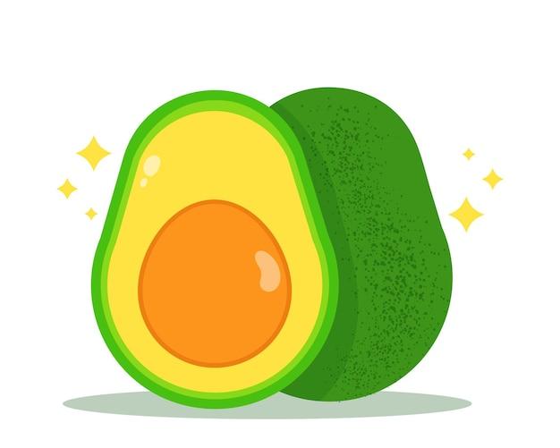 Halbe avocado gesunde ernährung obst bio-gemüse vektor handgezeichnete cartoon-kunst-illustration