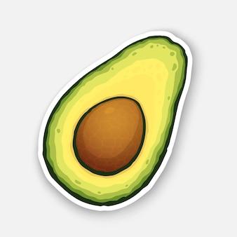 Halbe avocadofrucht mit samen im inneren gesundes vegetarisches essen vector illustration