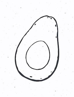 Halbe avocadofrucht mit samen im inneren gesundes vegetarisches essen zum frühstück vector illustration