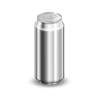 Halbe liter glänzende aluminiumdose, soda oder bierschablone auf weiß