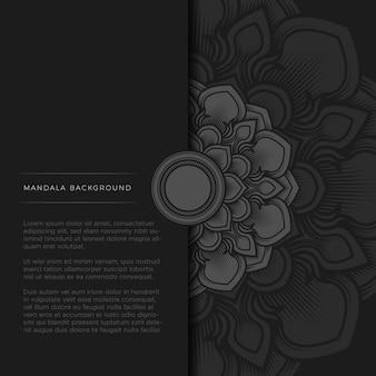 Halbe mandala auf schwarzem hintergrund