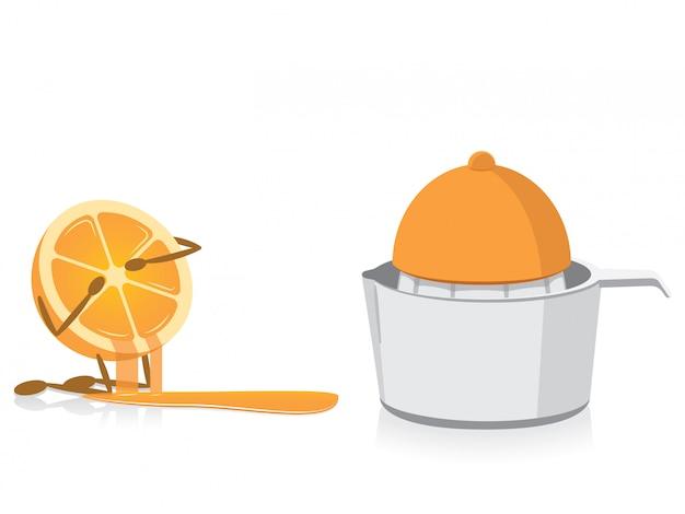 Halbe orange, die vorbei zusammengedrückte halbe orange schreit