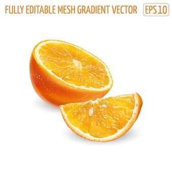 Halbe orange mit scheibe