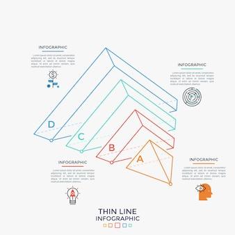 Halbe pyramide auf der seite liegend geteilt in 4 teile, lineare symbole und textfelder. konzept von vier elementen der geschäftsentwicklung. einfache infografik-design-vorlage. moderne vektorillustration.