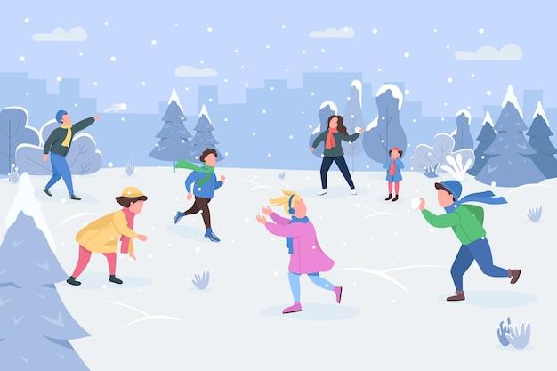 Halbflache illustration der schneeballschlacht