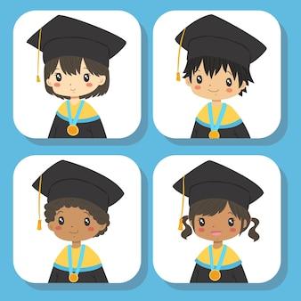 Halbkörper studenten abschlussset Premium Vektoren