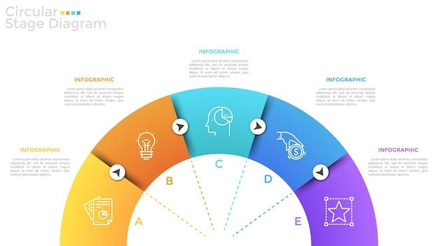 Halbkreis unterteilt in 5 bunte sektoren mit dünnen liniensymbolen, buchstaben und pfeilen. halbkreisdiagramm mit fünf stufen oder schritten. moderne infografik-design-vorlage. vektor-illustration.