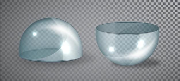 Halbkugel-isoliertes set aus transparentem glas. vektor-illustration