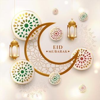 Halbmond eid mubarak festival grußkarte