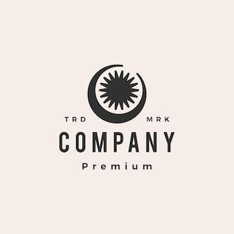 Halbmond sonne hipster vintage logo vorlage