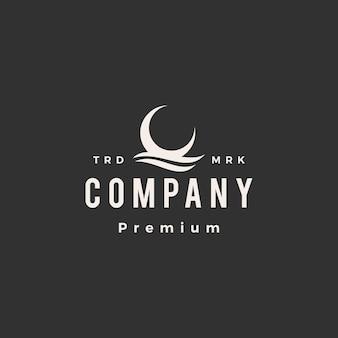 Halbmond wasserwelle hipster vintage logo vorlage
