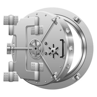 Halboffene banktresortür auf weiß. sichere bank, metalltürtresor, schloss sicherheitsbank, offene sichere bank. vektorillustration
