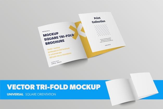 Halboffene, dreifach gefaltete vektorvorlage, vorderansicht, standardgeschäftsbroschüre, mit abstraktem muster, realistischen schatten, einzeln auf hintergrund. mockup-broschüre mit quadratischer rollfalte für die designpräsentation