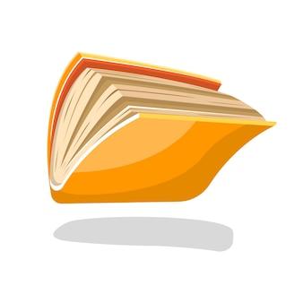 Halboffenes gelbes buch oder heft im taschenbuch, das herunterfällt oder fliegt. cartoon-illustration für lesegruppe, bibliothek, bildung, verlagswesen, buchprojekte auf weiß.