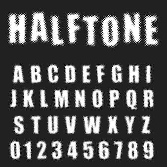 Halbton-alphabet schriftvorlage