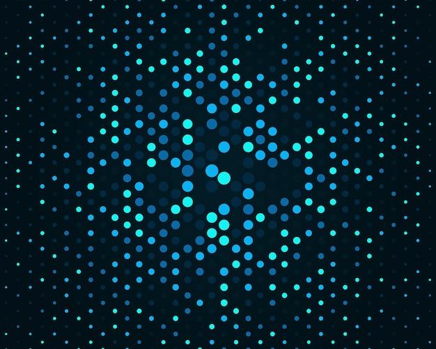 Halbton-gradientenhintergrund mit punkten hintergrund mit blauen kreisen in verschiedenen größen