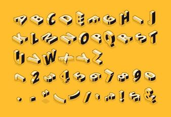 Halbton-Gussillustration der isometrischen Buchstaben der dünnen Linie abstraktes Alphabet der Karikatur