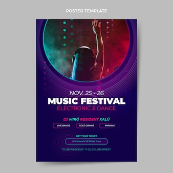 Halbton-musikfestivalplakat mit farbverlauf