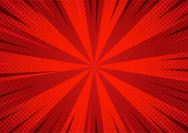 Halbton-zoom-muster der abstrakten roten comic-karikaturart.