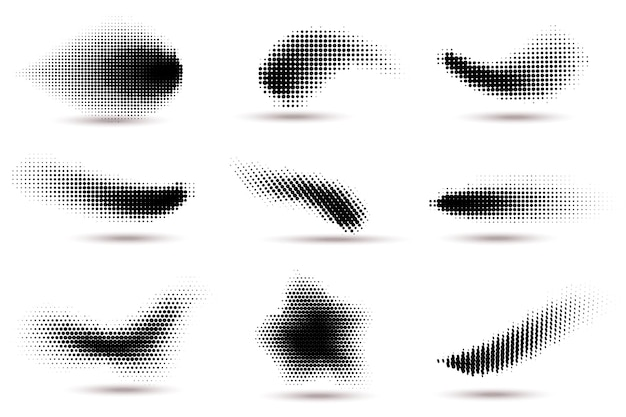 Halbtonformen. gekrümmte gepunktete flecken mit halbtonkreispunktverlaufstextur. fluid-flex-wellen-effekt-muster, grafik-wirbel-punkte-vektor-set