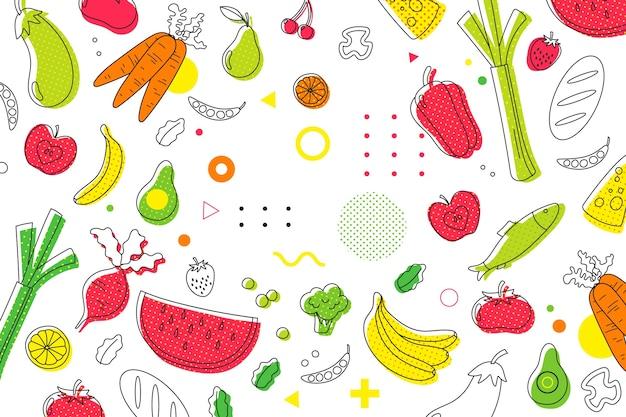 Halbtonhintergrund von obst und gemüse