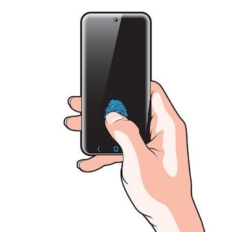 Halbtransparentes smartphone mit rotem knopf in der hand