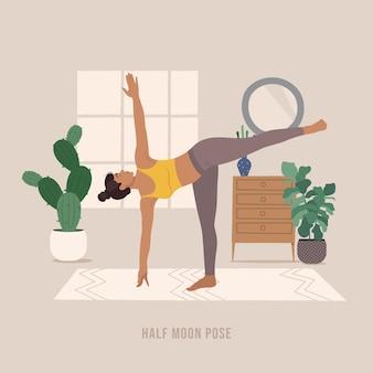 Half moon pose junge frau, die yoga-pose praktiziert