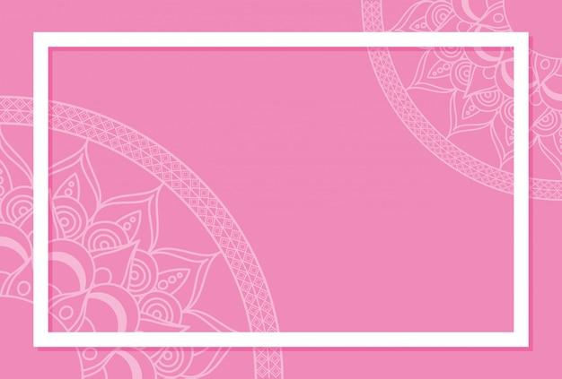 Halfs mandalas mit rosa farbe hintergrund