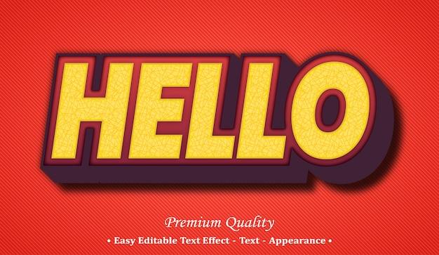 Hallo 3d bearbeitbarer textstil-effekt