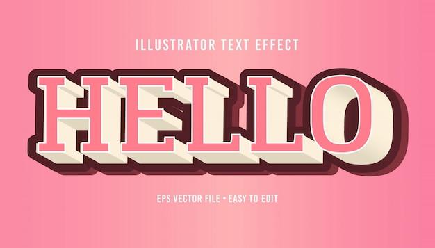 Hallo 3d rosa textstil bearbeitbarer vektor eps texteffekt