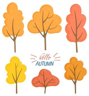 Hallo autumn set von gelben und orangenbäumen