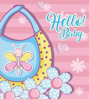 Hallo baby-dusche-karte niedlichen cartoons