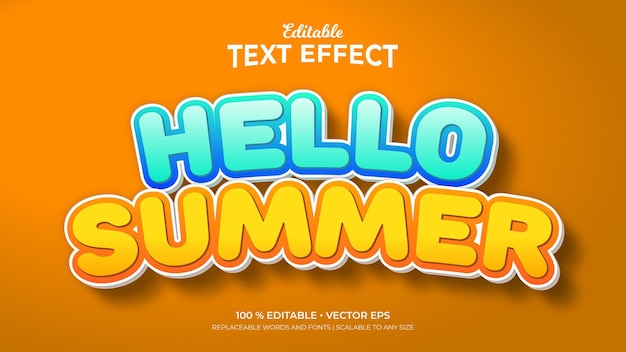 Hallo bearbeitbare texteffekte im 3d-stil im sommer