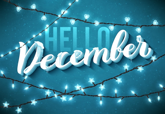 Hallo dezember poster mit realistischen, eiszapfen und weihnachten funkelnden lichtern