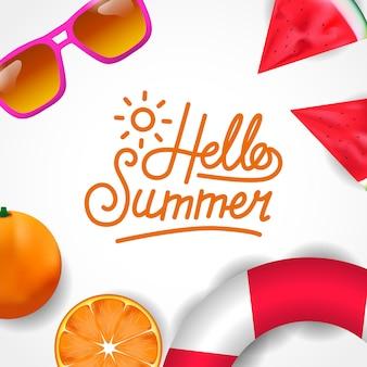 Hallo draufsicht der tropischen frucht des sommers