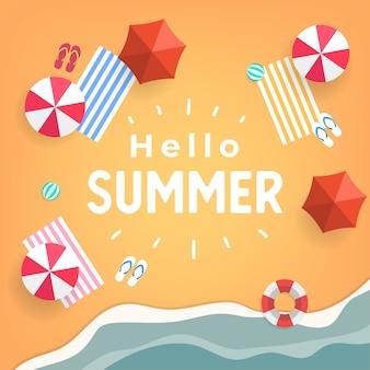 Hallo draufsicht des tropischen strandes des sommers.