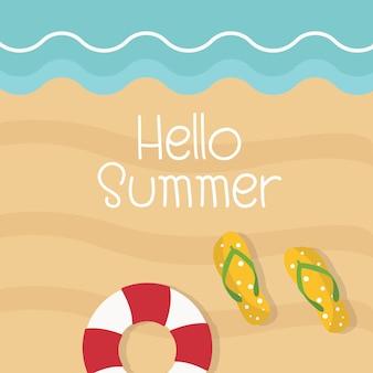 Hallo draufsichtstrand und -meer der sommerillustration