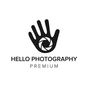 Hallo fotografie logo symbol vektor vorlage