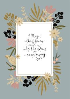 Hallo frühling. botanisches set mit handgezeichneten gartenelementen, rändern, blumen, blatt, romantischer beschriftung. gute vorlage für web, karte, poster, aufkleber, banner, einladung, hochzeit.