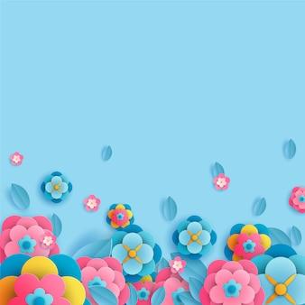 Hallo frühling mit blüten und blättern