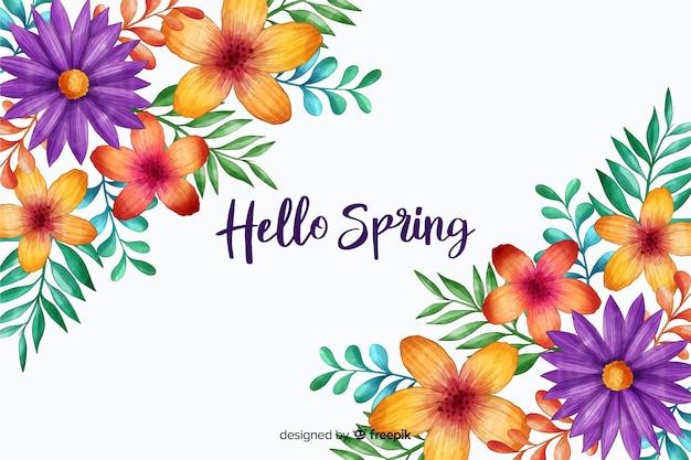 Hallo frühling mit blütenblumen