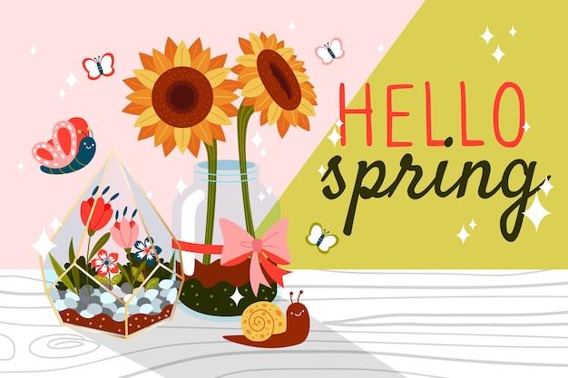 Hallo frühling mit sonnenblumen und schmetterlingen
