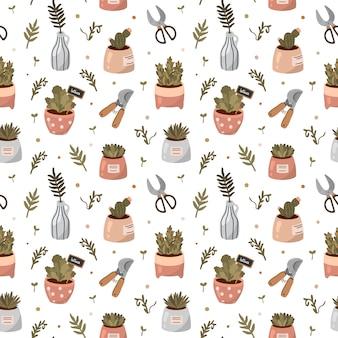 Hallo frühling und gartenarbeit. nahtloses muster mit gartenwerkzeugen, blumen, pflanzen in töpfen und anderen niedlichen gartenelementen im flachen cartoonstil.