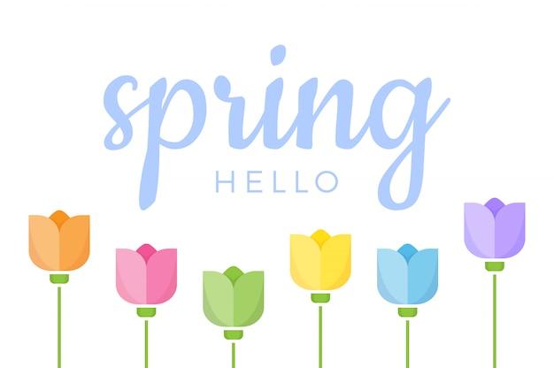 Hallo frühlings-hand beschriftetes zitat mit satz von sechs verschiedenen farbtulpenblumen