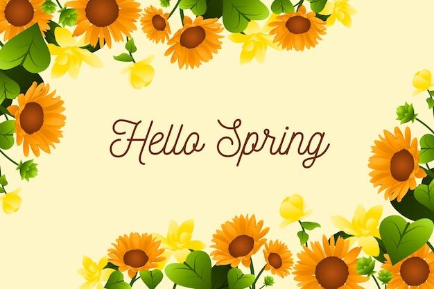 Hallo frühlingsbeschriftungsdesign mit sonnenblumen