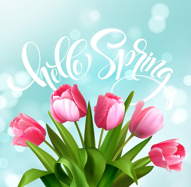 Hallo frühlingshandbeschriftung mit tulpenblume.