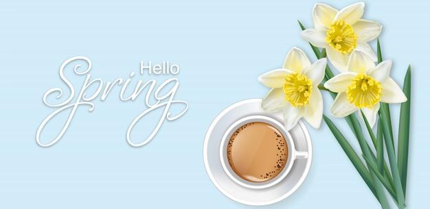 Hallo frühlingskarte mit kaffee- und narzissenblumen