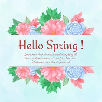 Hallo frühlingskarte mit wunderschönen blauen und rosa blumenrahmen